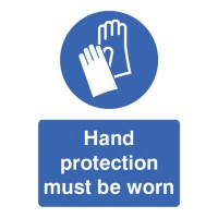 Hand protection must be worn portrait sign