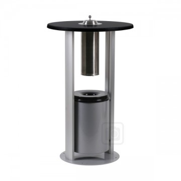 Freestanding Smokers Table with Ashtray Bin and Toughened glass top