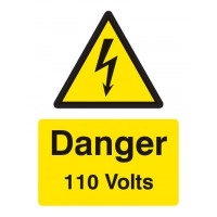 Danger 110 volts Portrait sign
