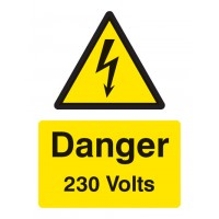 Danger 230 volts Portrait sign