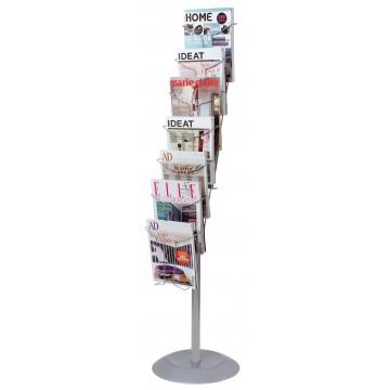 Alba Chrome Floor Stand Document Display A4- 7 TIER